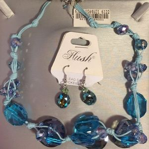 Blue chunky necklace and earrings